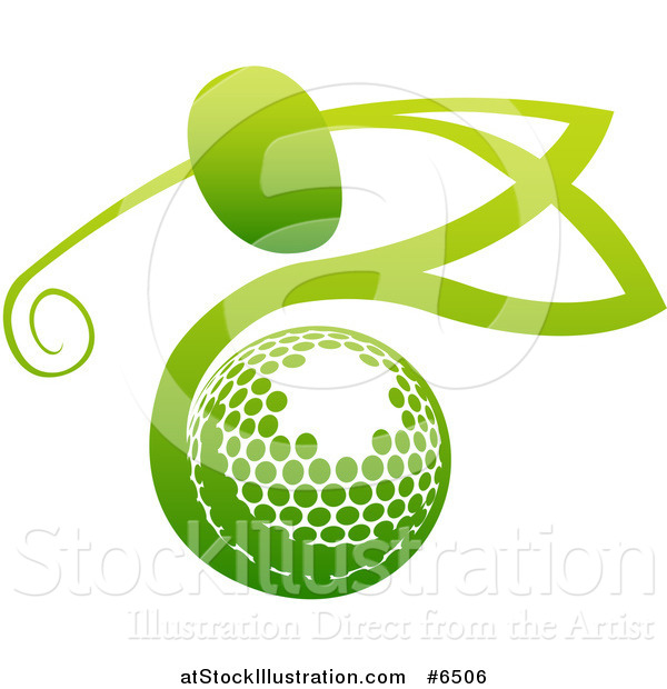 Vector Illustration of a Gradient Green Man Golfing over a Ball
