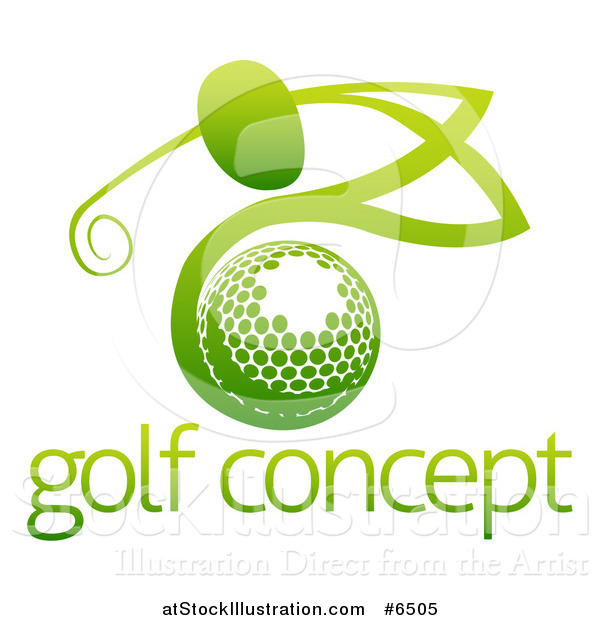 Vector Illustration of a Gradient Green Man Golfing over a Ball with Sample Text
