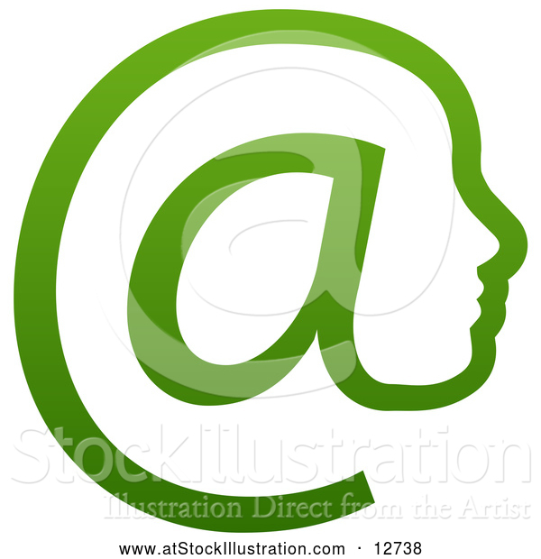 Vector Illustration of a Gradient Green Profiled Face in an Email Arobase at Symbol