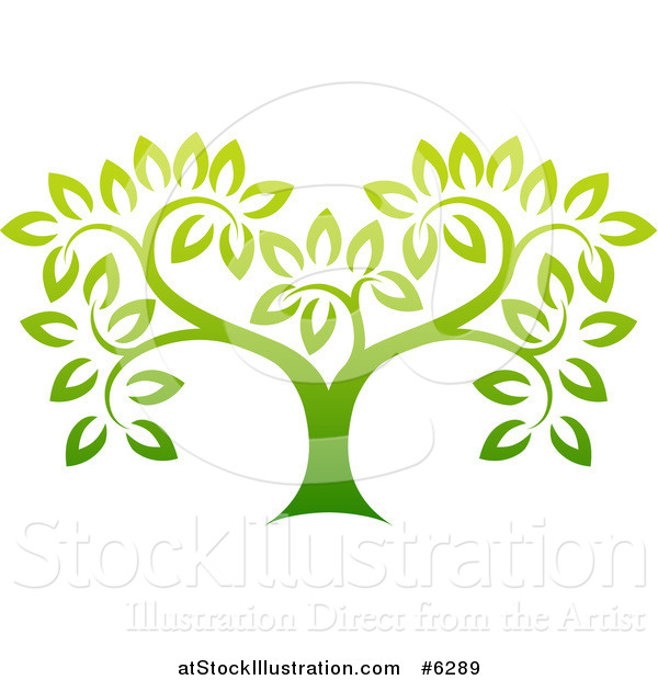 Vector Illustration of a Gradient Green Tree