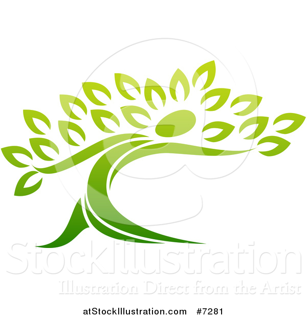 Vector Illustration of a Gradient Green Tree Man