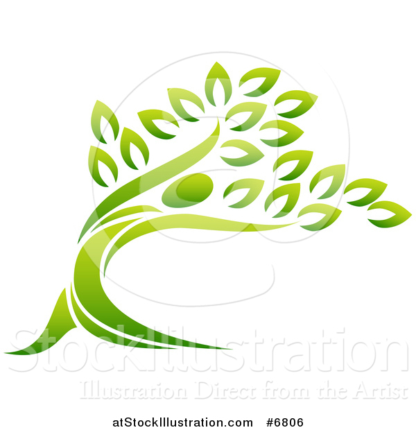 Vector Illustration of a Gradient Leaning Person Tree