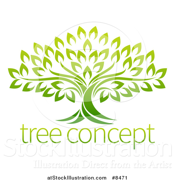 Vector Illustration of a Gradient Mature Green Tree with Sample Text