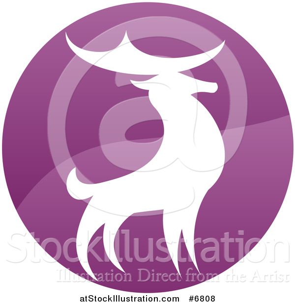 Vector Illustration of a Gradient Purple Deer Stag Circle