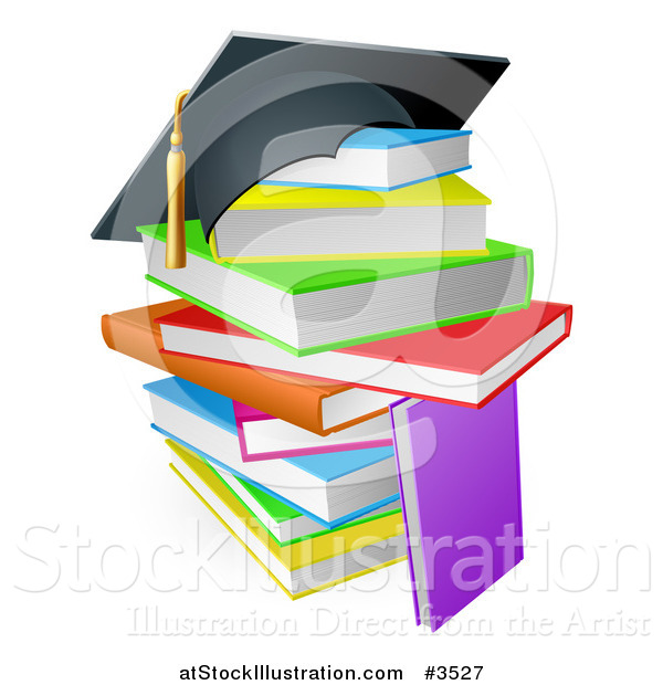 Vector Illustration of a Graduation Cap on a Stack of Colorful School Books