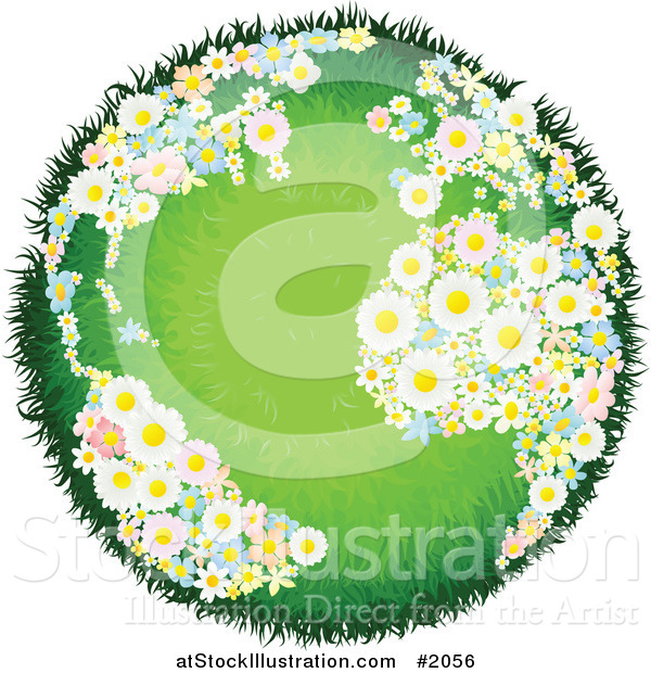 Vector Illustration of a Grassy Globe with Floral Continents