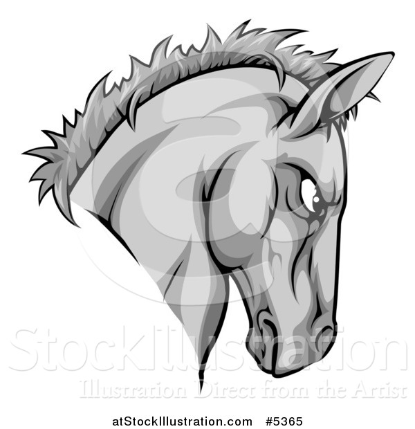Vector Illustration of a Gray Aggressive Horse Mascot Head