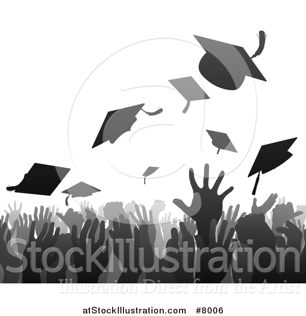 Vector Illustration of a Gray and Black Silhouetted Graduation Crowd Tossing up Their Mortar Board Caps