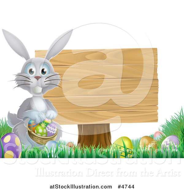 Vector Illustration of a Gray Bunny by a Wood Sign and Easter Eggs