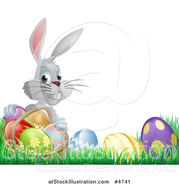 Vector Illustration of a Gray Bunny Holding Basket by Easter Eggs