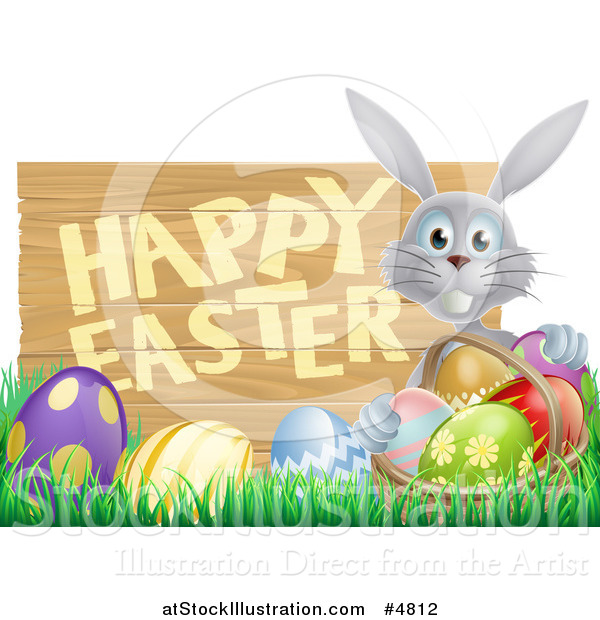 Vector Illustration of a Gray Bunny with a Basket and Eggs in Grass, by a Happy Easter Sign