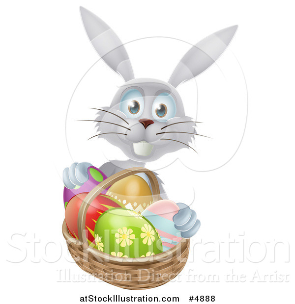 Vector Illustration of a Gray Bunny with Easter Eggs and a Basket