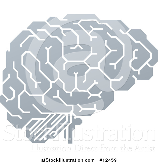 Vector Illustration of a Gray Human Brain with Electrical Circuits
