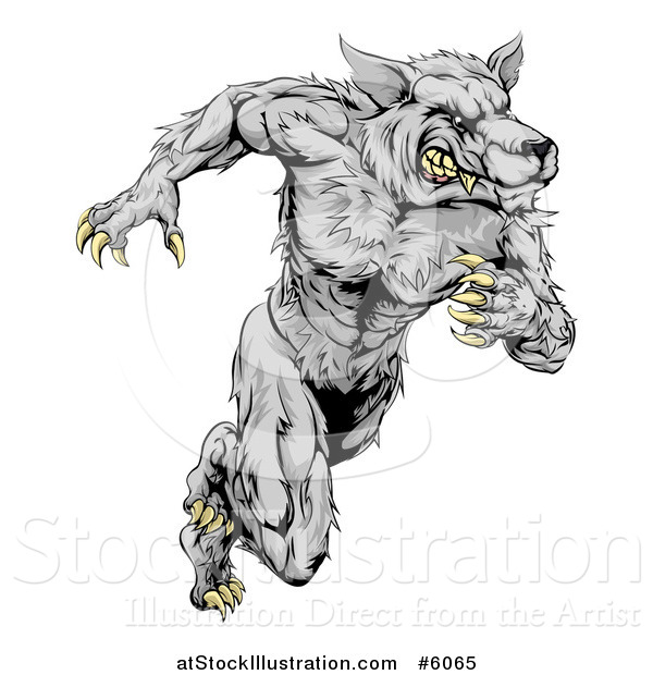 Vector Illustration of a Gray Muscular Wolf Man Sprinting