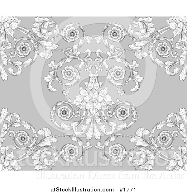 Vector Illustration of a Gray Victorian Floral Styled Seamless Background