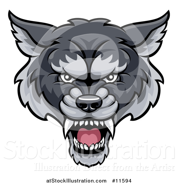 Vector Illustration of a Gray Wolf Mascot Head