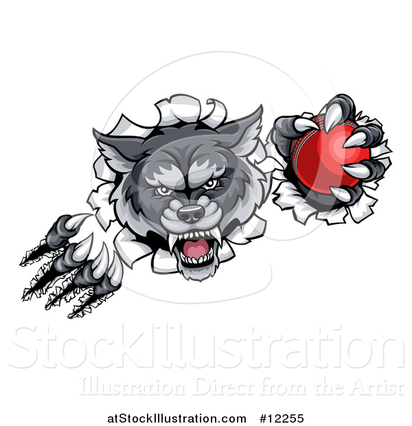 Vector Illustration of a Gray Wolf Slashing Through a Wall with a Cricket Ball
