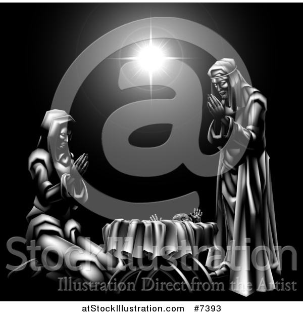 Vector Illustration of a Grayscale 3d Mary and Joseph Praying over Baby Jesus and the Star of Bethlehem 2