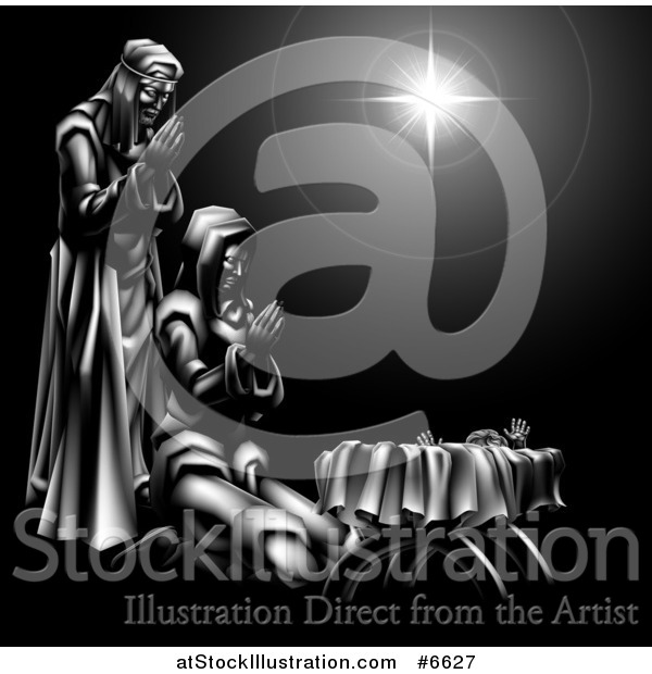 Vector Illustration of a Grayscale 3d Mary and Joseph Praying over Baby Jesus and the Star of Bethlehem