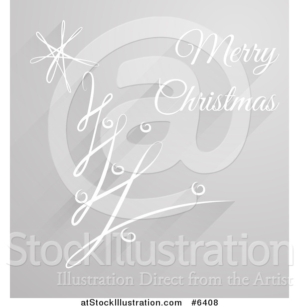 Vector Illustration of a Grayscale Abstract Swirl Tree with Merry Christmas Text