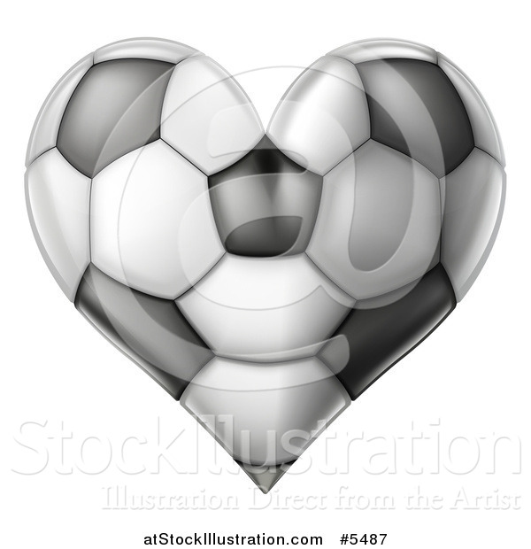 Vector Illustration of a Grayscale Heart Shaped Soccer Ball