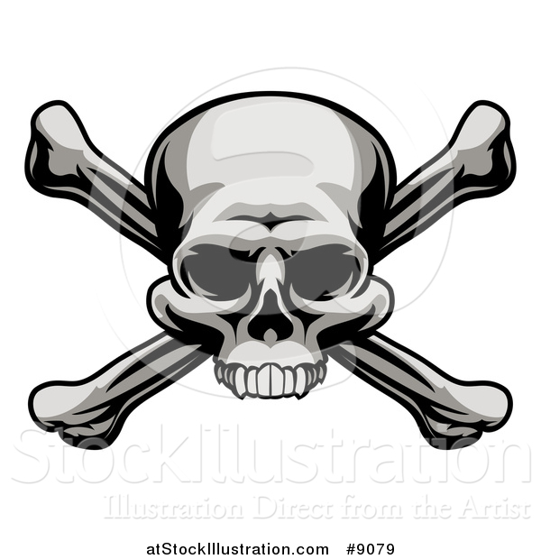 Vector Illustration of a Grayscale, Jolly Roger Pirate Skull over Cross Bones