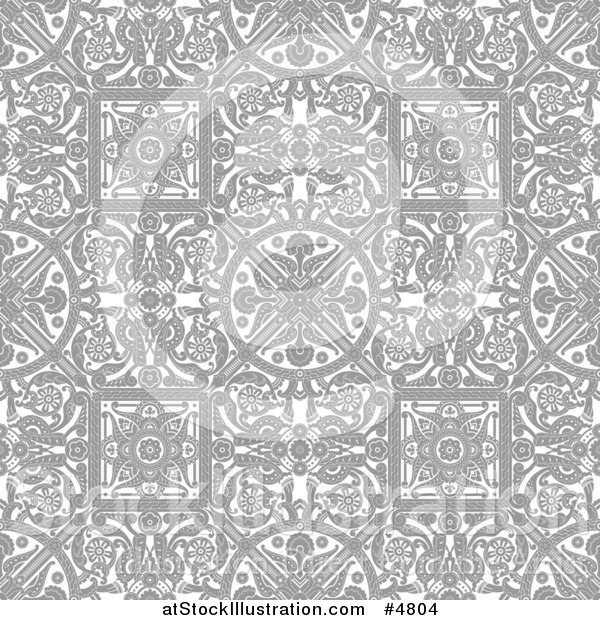 Vector Illustration of a Grayscale Seamless Intricate Middle Eastern Motif Background Pattern