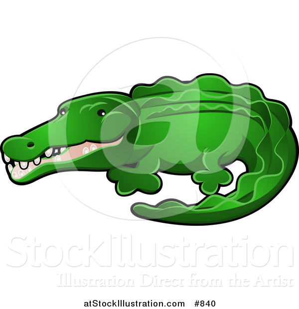 Vector Illustration of a Green Alligator or Crocodile with His Snout Slightly Open