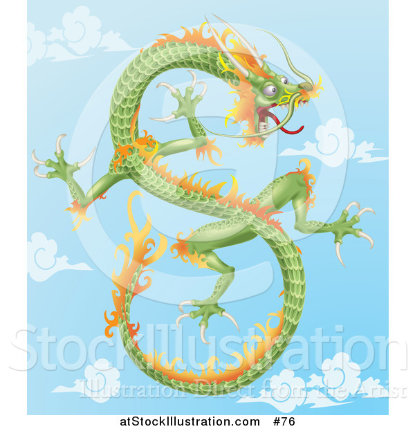 Vector Illustration of a Green and Orange Chinese Dragon Flying in the Sky