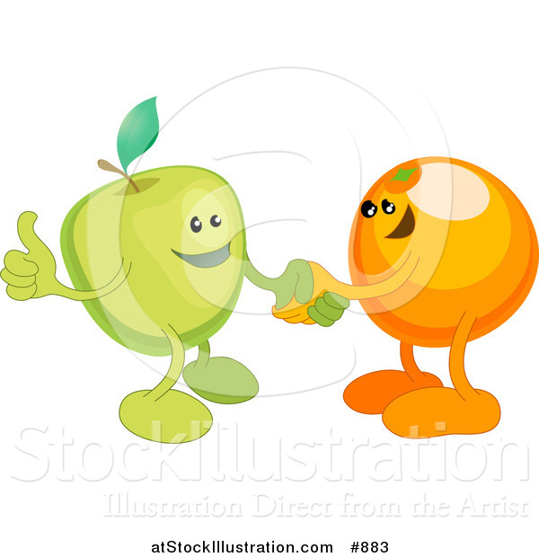 Vector Illustration of a Green Apple Shaking Hands with an Orange While Agreeing on a Business Deal
