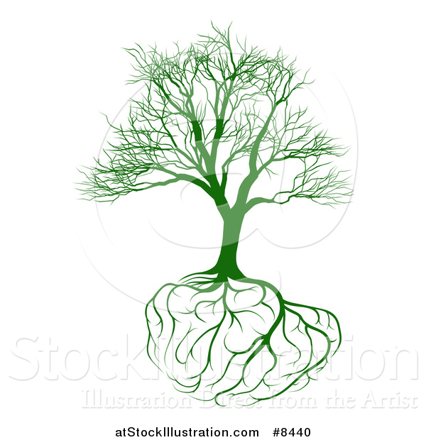 Vector Illustration of a Green Bare Tree with Brain Roots