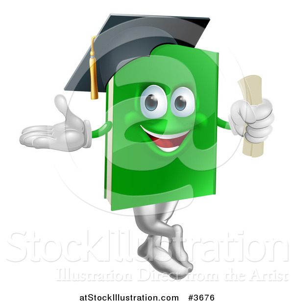 Vector Illustration of a Green Book Mascot Graduate