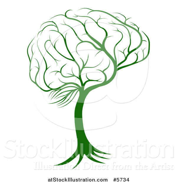 Vector Illustration of a Green Brain Tree