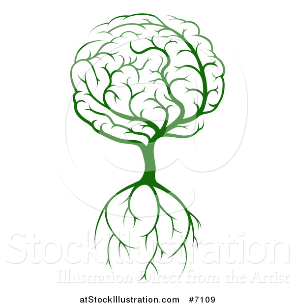 Vector Illustration of a Green Brain Tree with a Roots