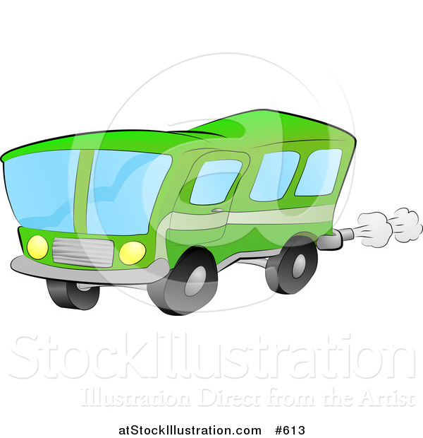 Vector Illustration of a Green Bus for Public Transportation