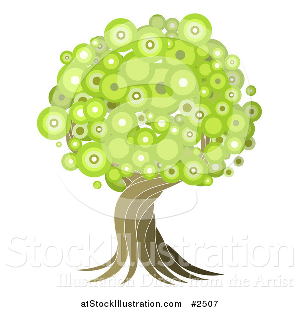 Vector Illustration of a Green Circle Foilage Tree with a Twisting Trunk