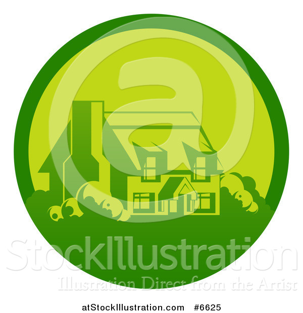 Vector Illustration of a Green Country Cottage House in a Circle