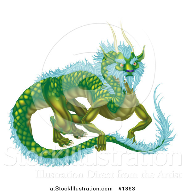 Vector Illustration of a Green Dragon with Icy Blue Feathers