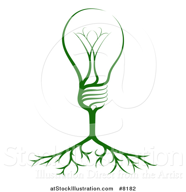 Vector Illustration of a Green Electric Light Bulb Tree and Roots
