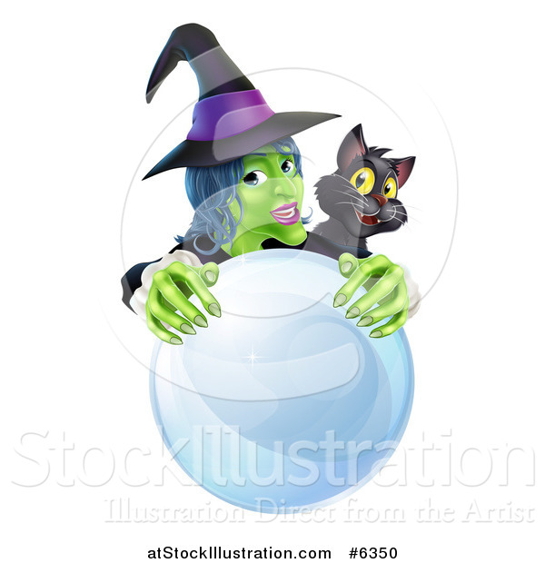 Vector Illustration of a Green Halloween Witch and Black Cat Behind a Crystal Ball