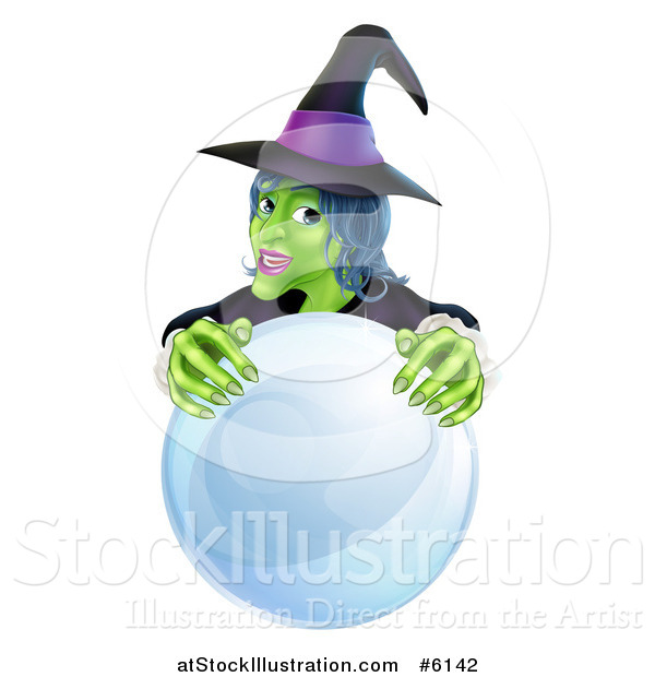 Vector Illustration of a Green Halloween Witch Behind a Crystal Ball