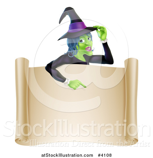 Vector Illustration of a Green Halloween Witch Poinging down to a Scroll Sign