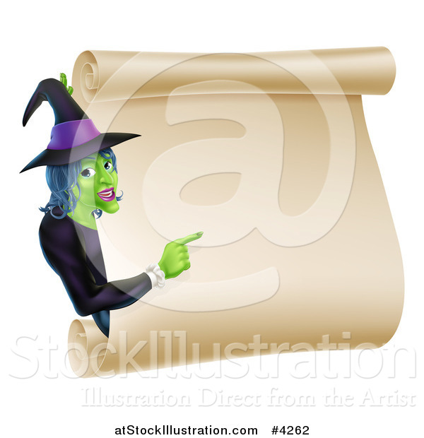 Vector Illustration of a Green Halloween Witch Pointing to a Scroll Sign