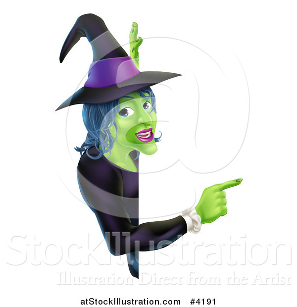 Vector Illustration of a Green Halloween Witch Pointing to a Sign