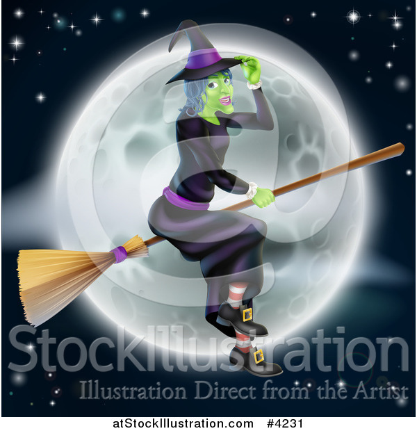 Vector Illustration of a Green Halloween Witch Tipping Her Hat and Flying Her Broom over a Full Moon