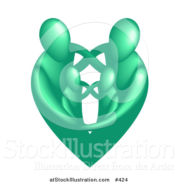 Vector Illustration of a Green Heart Family