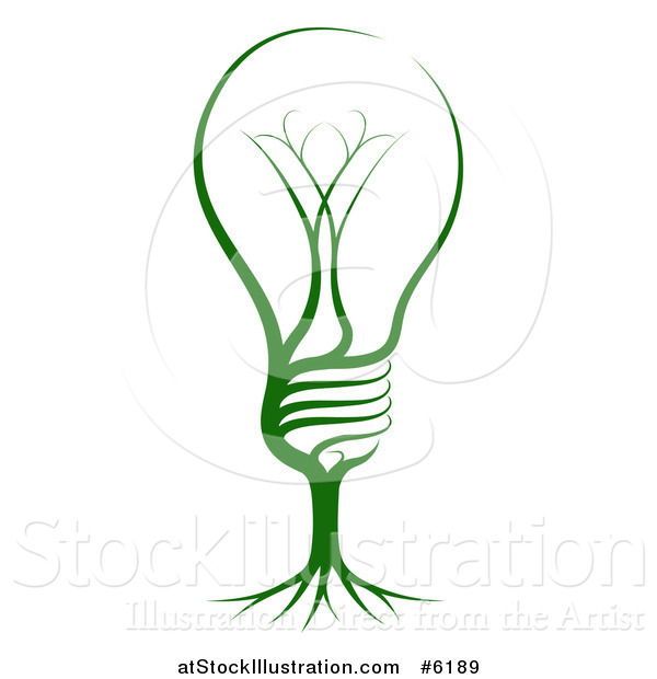 Vector Illustration of a Green Light Bulb with Tree Roots