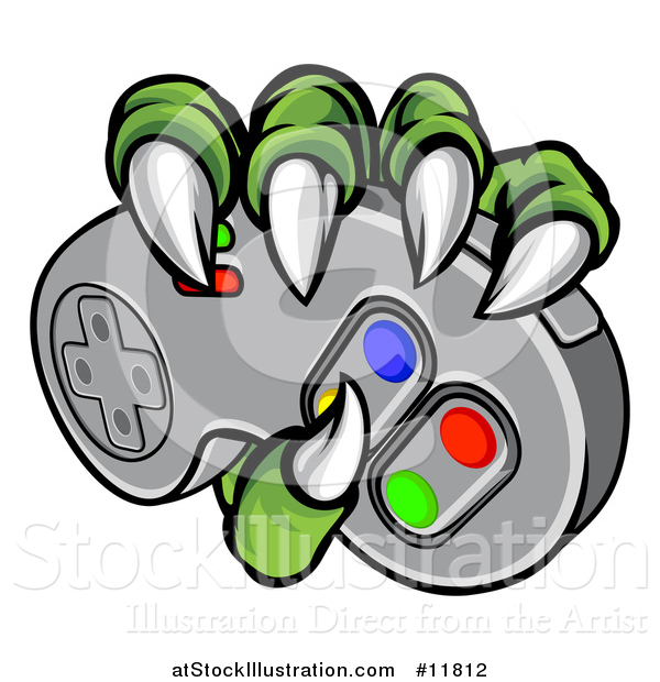 Vector Illustration of a Green Monster Claws Gripping a Video Game with a Controller
