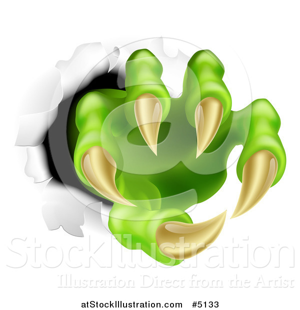 Vector Illustration of a Green Monster Claws Ripping Through Metal