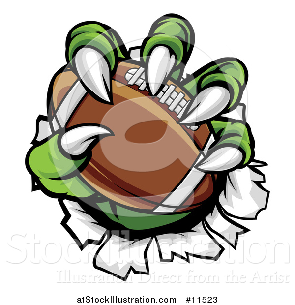 Vector Illustration of a Green Monster Claws Ripping Through Metal with a Football